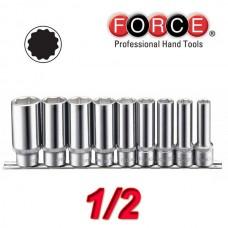 Σέτ καρυδάκια 1/2 Μακριά Πολύγωνα Force (9 τεμ.)